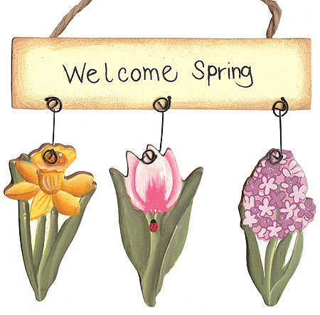 welcome_spring_flowers_painted_wood_sign_ornament