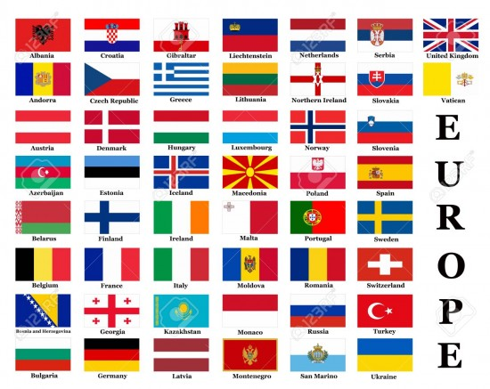 Banderas de paises y los nombres