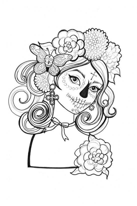 Dibujos De Catrinas Y Calaveras Para Colorear El Día De