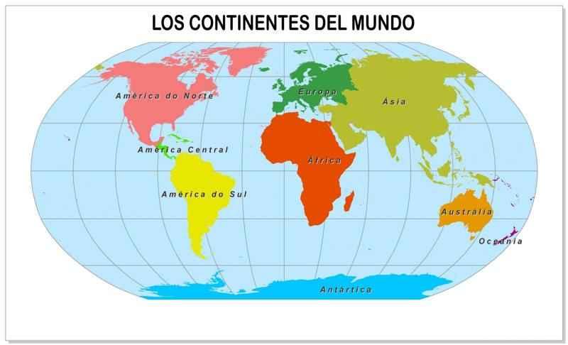 Dibujo Mapa Del Mundo Continentes.Mapas De Los 5 Continentes Con Paises Y Capitales